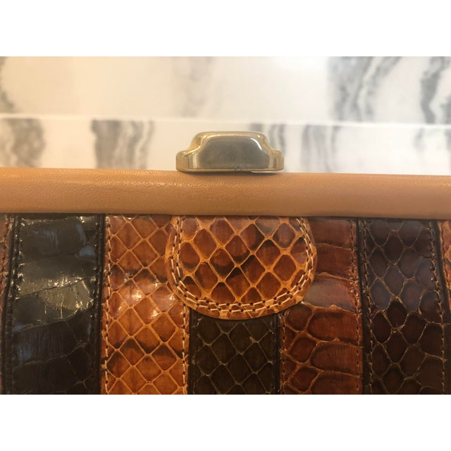 Metal 1980s Vintage Patrizia Multicolored Striped Python Clutch For Sale - Image 7 of 11
