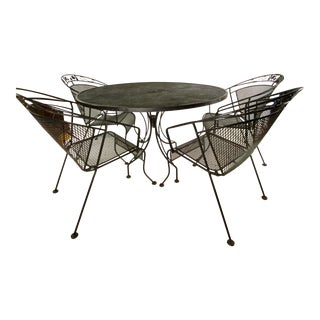 Mid-Century Wrought Iron Russell Woodard Style Patio Set - 5 Pieces For Sale