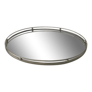 Vintage White Metal Mirror Oval Vanity Tray For Sale