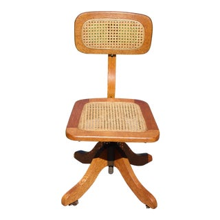 Vintage Sikes Oak & Cane Adjustable Swivel Office Chair For Sale