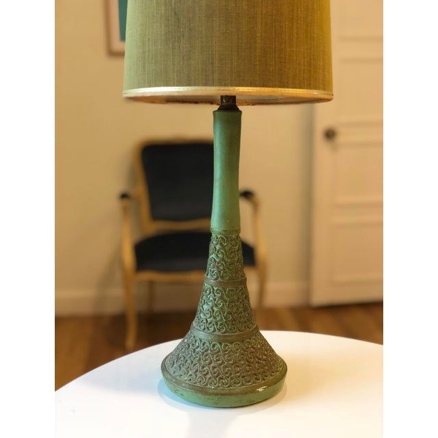 Boho Chic Vintage Green Plasto Ceramic Lamp For Sale - Image 3 of 10