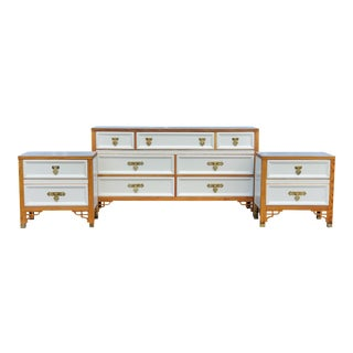1960s Mid Century Dixie Dresser and Nightstand Set - 3 Pieces For Sale
