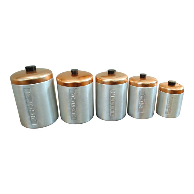 1950s Mid-Century Aluminum Nesting Canisters - Set of 5 For Sale