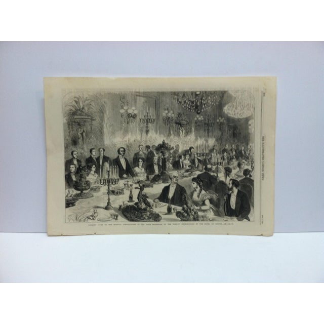 """Mid 19th Century 1867 Antique """"Banquet Given to the Imperial Commissioners of the Paris Exhibition"""" The Illustrated London News Print For Sale - Image 5 of 5"""