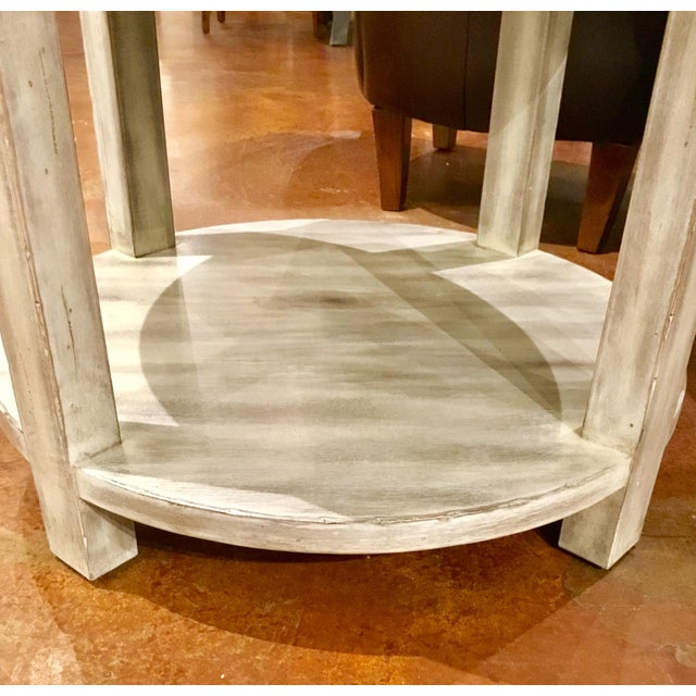 Drexel Heritage Modern Off-White Antique Wood & Stone Top Round Jule End Table For Sale In Atlanta - Image 6 of 7