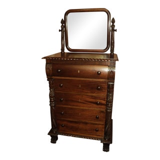 Antique American Mahogany Empire Chest of Drawers With Mirror For Sale
