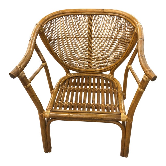 4 Vintage Midcentury Rattan Chairs For Sale