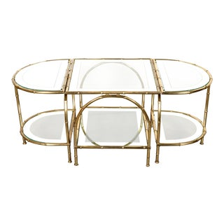 Hollywood Regency Maison Baguès Brass Faux Bamboo Three-Piece Coffee Table - 3 Pieces For Sale