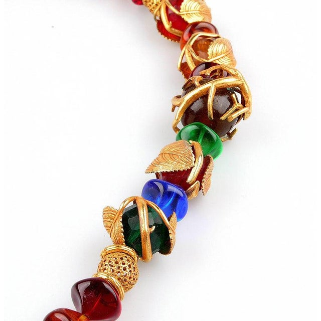 Art Deco French Art Deco Philippe Ferrandis Gilt Colorful Necklace Paris For Sale - Image 3 of 6