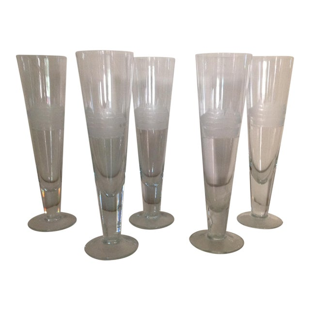 Ship Etched Glasses - Set of 5 For Sale