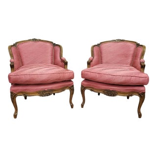 French Provincial Natural Carved Wood Rose Pink Satin Armchairs - a Pair For Sale