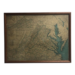 Rand McNally Map of Virginia and Washington DC For Sale