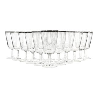 Mid-20th Century Modern French Silver Rimmed Glass Wine Stems, 17 Pieces For Sale