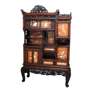 Antique Japanese Figural Carved Mixed Wood & Hardstone Inlaid Cabinet circa 1900 For Sale