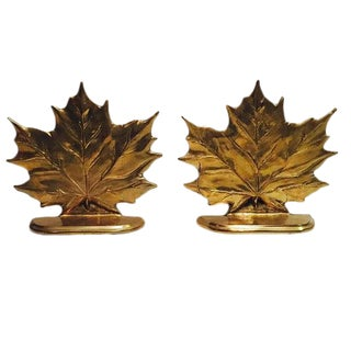 Mid Century Modern Brass Maple Leaf Bookends - A Pair For Sale