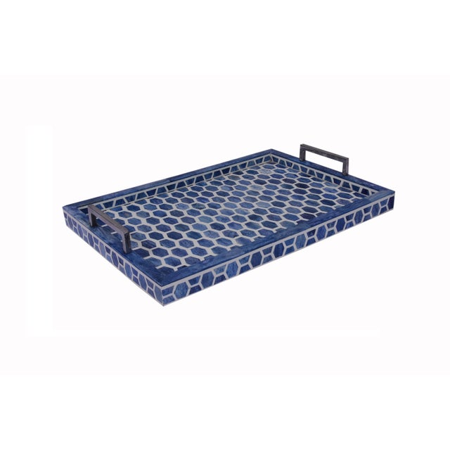2010s Gramercy Tray in Indigo & White, Medium For Sale - Image 5 of 5