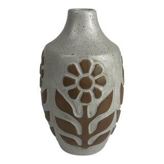 Mid-Century Stoneware Pottery David Stewart Lions Valley Vase For Sale