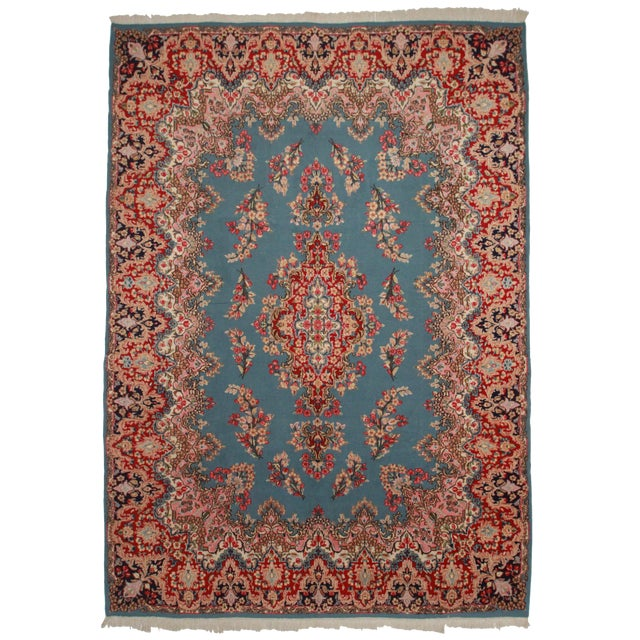 RugsinDallas Vintage Hand Knotted Wool Persian Kerman Rug - 9′8″ × 13′8″ For Sale