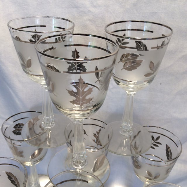 9 Mid Century Modern Libbey Silver Leaf Frosted Wine