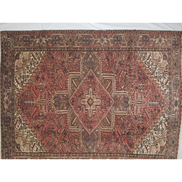"Leon Banilivi Vintage Persian Heriz Brown Rug - 9'1"" X 7'3"" - Image 3 of 6"