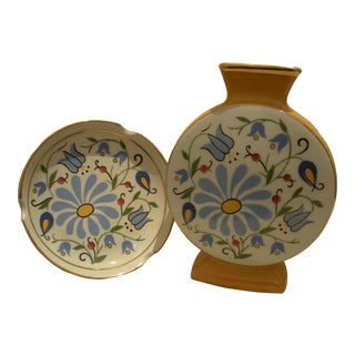 Vintage 1960s Painted Ceramic Vase & Matching Plate with 14k Gold Trim From Poland - Set of 2 For Sale