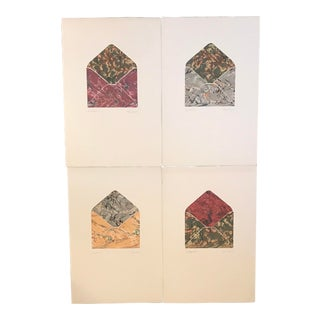 1980s Abstract Marbleized Mixed Media Collages - Set of 4 For Sale