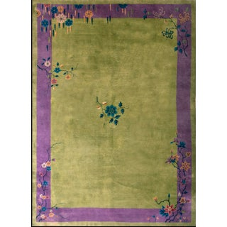 1930s Antique Chinese Art Deco Rug- 10′ × 13′7″ For Sale