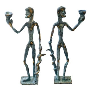 Vintage Brass Greek God Asclepius Figurine Candleholders - a Pair For Sale