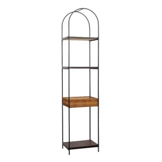 Arthur Umanoff Iron and Rattan Etagere For Sale