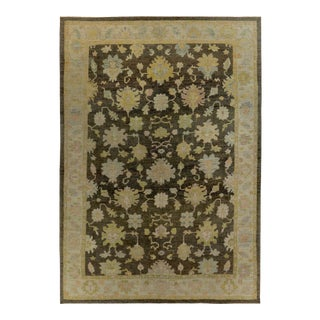 Turkish Oushak Rug with Green & Blue Floral Details on Ivory & Brown Field For Sale