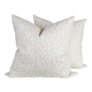 Pale Blue Coral Linen Pattern Pillows - A Pair