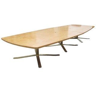 16ft Vintage Birdseye Maple Zographos Conference Table For Sale