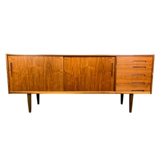Vintage Scandinavian Mid Century Modern Walnut Credenza by Nils Jonsson for Troeds For Sale
