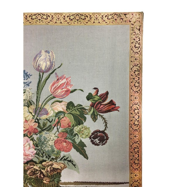 Early 20th Century Vintage English Handmade Tapestry Floral Still Life For Sale - Image 5 of 7