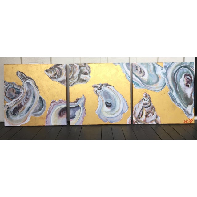 "Contemporary Oysters Paintings on Canvas ""Gold Coast I, Ii, Iii"" by Leigh-Anne O'Brien (Lagob) - Set of 3 For Sale - Image 12 of 13"