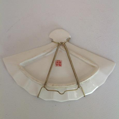 Vintage Fine China Lotus Fan- Shaped Trinket Dish & Collectible Plate - A Pair For Sale - Image 4 of 6