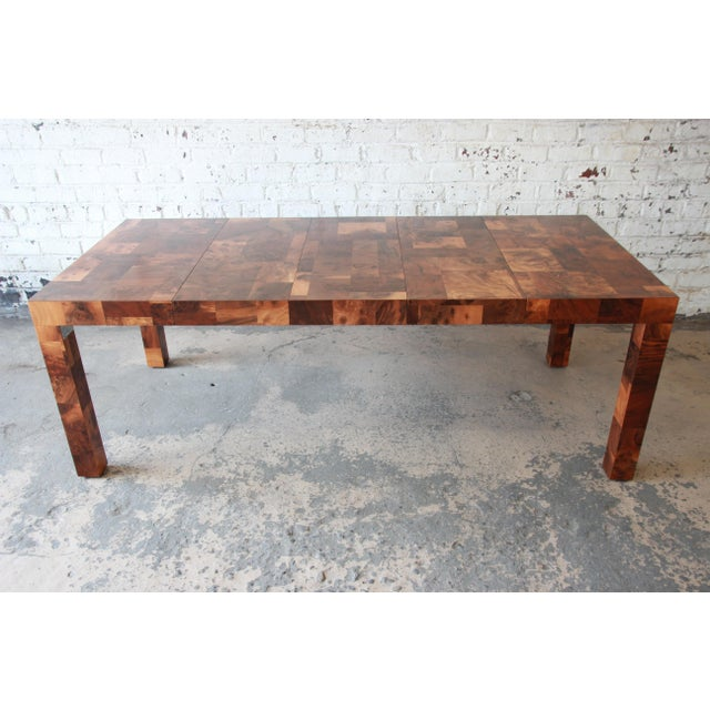 Paul Evans for Directional Patchwork Burl Wood Parsons Extension Dining Table For Sale - Image 13 of 13