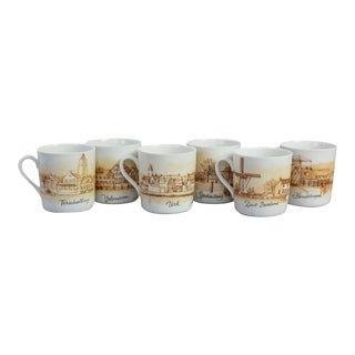 Small Dutch Souvenir Costume Echt Beiers Porselein Set of 6 Cups For Sale