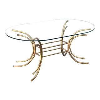 1960s Hollywood Regency Gilt Faux Bamboo Glass Top Coffee Table