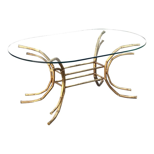 1960s Hollywood Regency Gilt Faux Bamboo Glass Top Coffee Table For Sale