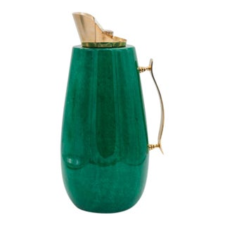 1960s Aldo Tura Green and Brass Carafe For Sale