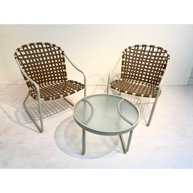 Mid-Century Modern Mid Century Modern Brown Jordan Off White and Brown Patio Furniture-Set of 3 For Sale - Image 3 of 10