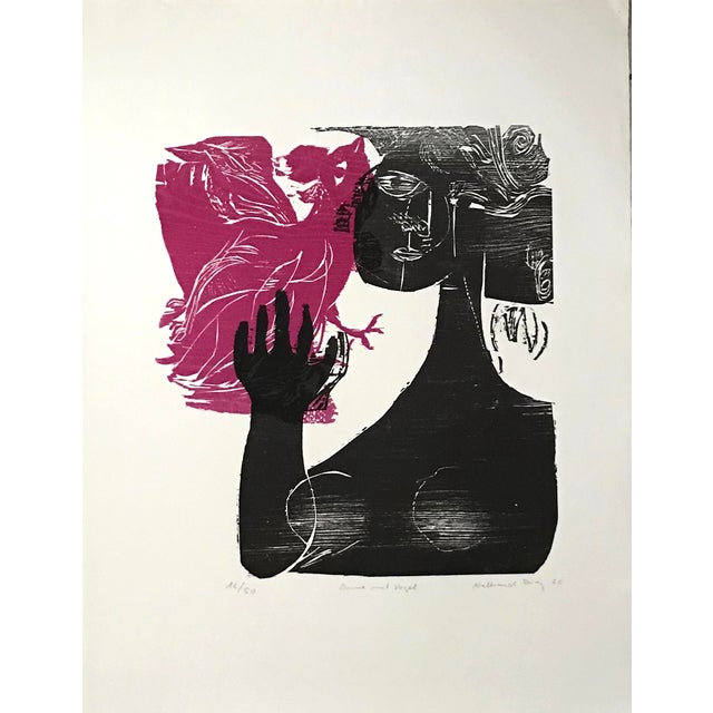 1966 - Waltraud Zeisig - Signed Linocut 'Dame'Mit Vogel' For Sale - Image 10 of 10