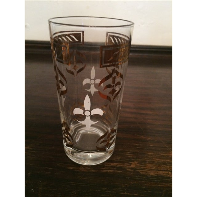 Vintage Fleur De Lis Highball Glasses W Caddy- S/8 - Image 3 of 3