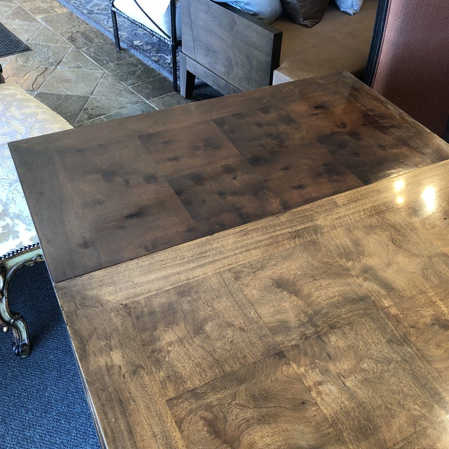 Custom Parquet Extension Dining Table For Sale - Image 11 of 13