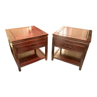 Asian Rosewood Mid-Century Modern Side Tables - A Pair