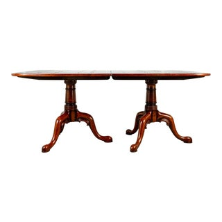 Double Pedestal Queen Anne Style Wide-Plank Extendable Fruitwood Dining Table For Sale