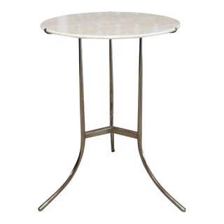 Mid-Century Modern Cedric Hartman Nickel and Marble Side Table For Sale