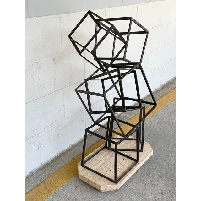 Modern Forged Iron & Travertine Quadrilaterals Sculpture For Sale - Image 10 of 11
