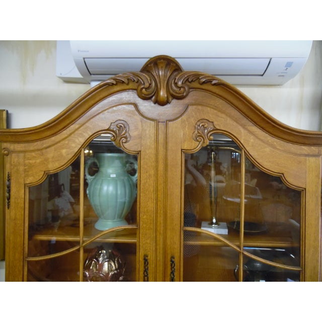 French Solid Oak 2 Piece China Cabinet For Sale - Image 6 of 7